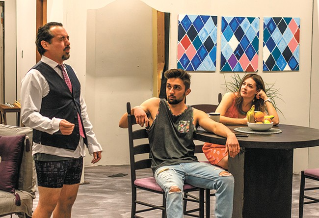FROM LEFT: Joe Mazzie, Jared Johnson - and Aubrey Davis star in Stage Left's - production of Disgraced