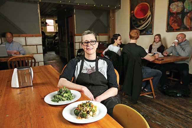 Boots Bakery owner Alison Collins uses nutritional yeast to create vegan versions of creamy salad dressing and a versatile cheese sauce. - YOUNG KWAK