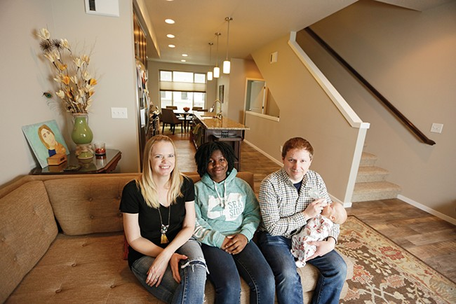 The Shears family — Sarah, Simone, Eric and baby Harvey (left to right) ­— at home in Kendall Yards. - YOUNG KWAK