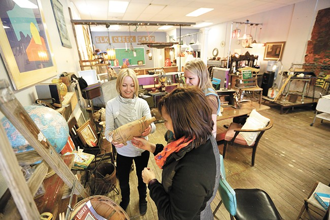 FROM LEFT: Mandi Neale, Rachell Fincher and Jessi Fincher explore the treasures found at 1889 Salvage Co. - YOUNG KWAK