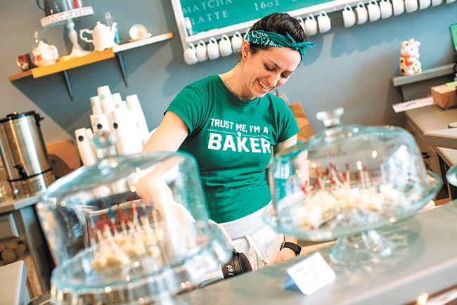 Lydia Cowles' new South Hill bakery offers the typical lineup of baked goods, but her specialty is fresh-baked coffeecake. - JENNIFER DEBARROS