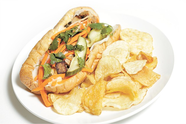 Ruins' banh mi with tofu can sate any vegetarian appetite. - YOUNG KWAK