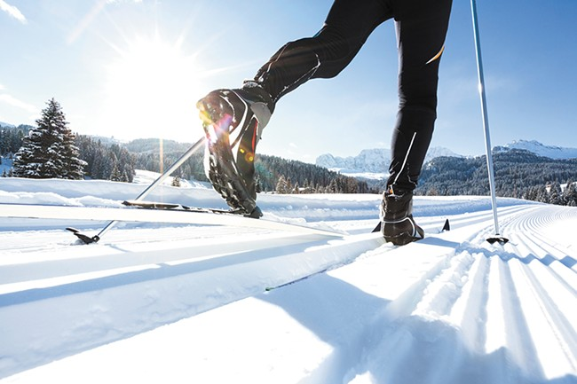 Cross-country skis are a good option.