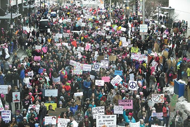 Last year's Women's March drew thousands to downtown Spokane. - YOUNG KWAK