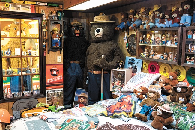 Smokey the Bear oversees his own room at the Fire Lookout Museum in Spokane. - HECTOR AIZON
