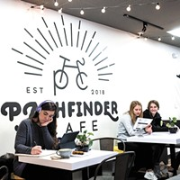 The newly opened Pathfinder Cafe shares a home with a South Hill bike shop