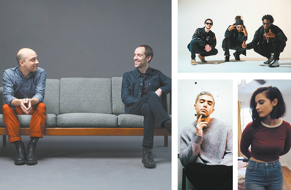 In addition to lots of local musicians, Volume features dozens of touring acts, including (clockwise, from left) the Helio Sequence, Bad Yoshi, Valen and Ryan Caraveo.