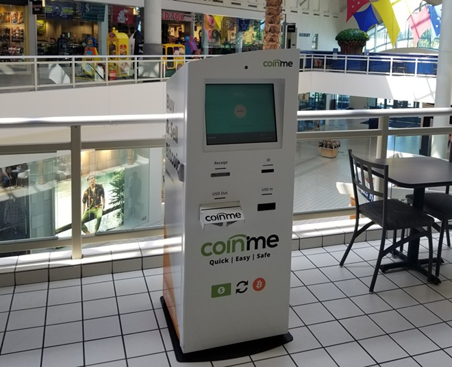 A new ATM in the Spokane Valley Mall is designed to make it easy for average people to turn their cash into Bitcoin. Eventually, the plan is for the Coinme machine to also enable customers to convert their Bitcoin and pull out cash. - PHOTO COURTESY OF COINME