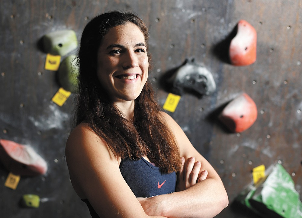 """Indoor climbing competition has gotten really crazy,"" says Tolson. - YOUNG KWAK"