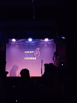 Caleb Ingersoll reveals the logo of the upcoming venue Lucky You Lounge. - NATHAN WEINBENDER