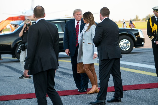 "President Donald Trump and first lady Melania Trump arrive in Vantaa, Finland, July 15, 2018. Trump, adding to the list of allies he has clashed with this past week, said in an interview released on Sunday that he considered the European Union a trade ""foe,"" days after a contentious NATO summit meeting. - DOUG MILLS/THE NEW YORK TIMES"