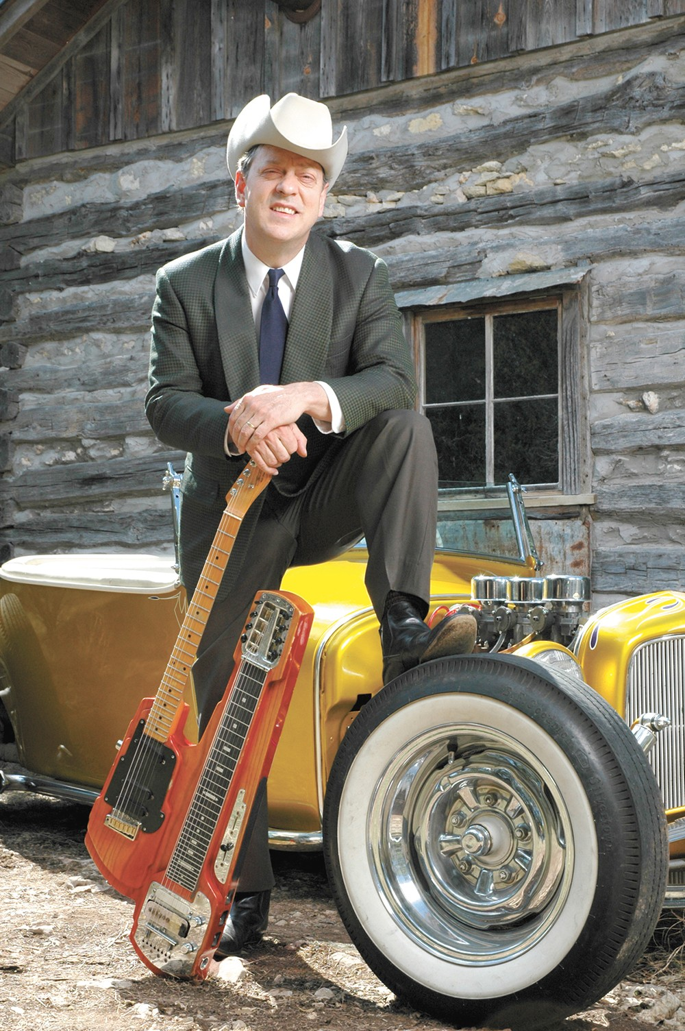 "Junior Brown and his famous ""guit-steel."""