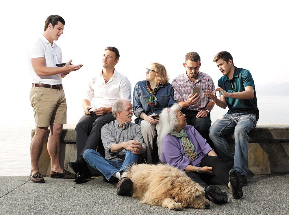 Front: Gizmo CDA founders Marty and Barbara Mueller and their dog, Hobbs; back (from left) Lamplight Heritage owner Tyler Lowe, NIC's Ryan Arnold, Art Spirit Gallery's Blair Williams, UI's Charles Buck and VR CDA owner Colton Hoffman. - YOUNG KWAK