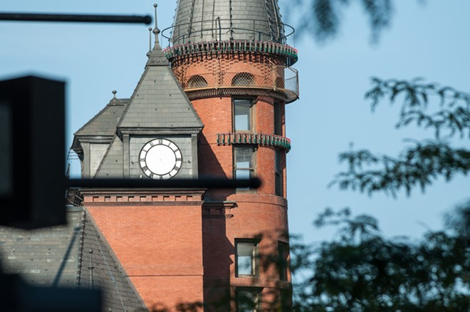 The missing clock face is unrelated to the newsroom cuts, though they are, perhaps, related to the fragile and illusory nature of time. - DANIEL WALTERS PHOTO