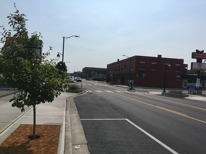 New pavement, sidewalks, parking and streetscaping are shown on the first day North Monroe Street reopened to traffic, Thursday, Sept. 6, 2018. - SAMANTHA WOHLFEIL PHOTO