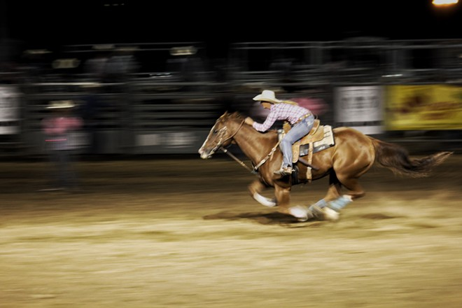 Casey Wagner rushes to finish in the barrel racing competition - QUINN WELSCH PHOTO