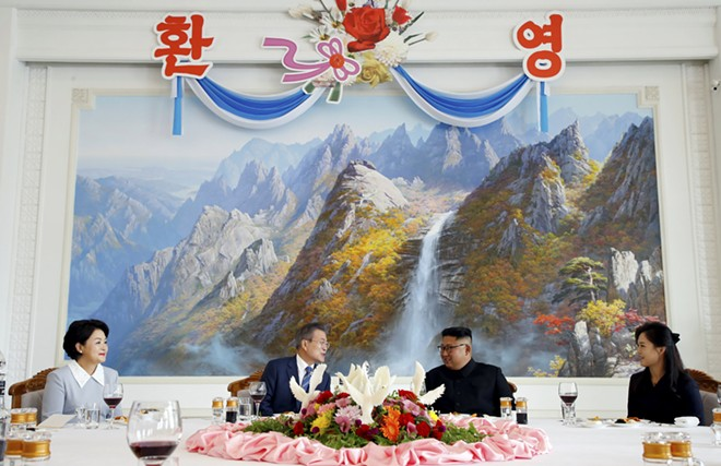 President Moon Jae-in of South Korea and North Korea's leader, Kim Jong-un, during a luncheon in Pyongyang, North Korea, Sept. 19, 2018. On the second day of his summit meeting with Moon, Kim signed a series of agreements aimed at easing tensions between the two countries, like stopping military exercises and creating no-fly zones near their shared border. - PYEONGYANG PRESS CORPS/POOL VIA THE NEW YORK TIMES