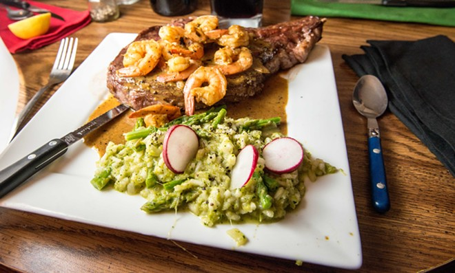 Surf and turf ribeye with asparagus risotto - DANIEL WALTERS PHOTO