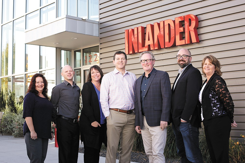 The Inlander's management team (from left): Marketing Director Kristina Smith, Production Mananger Wayne Hunt, Advertising Director Kristi Gotzian, General Manager Jer McGregor, Publisher Ted S. McGregor Jr., Editor Jacob H. Fries and Business Manager Dee Ann Cook. - YOUNG KWAK