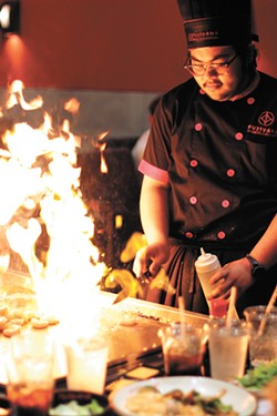 Fujiyama chefs play with fire. - CARRIE SCOZZARO PHOTO