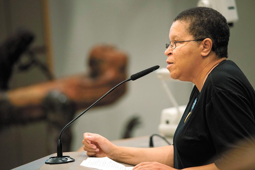 Sandy Williams spoke in favor of banning Border Patrol sweeps. - DANIEL WALTERS PHOTO