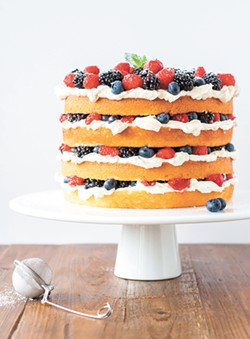 A layered cake made using Fat Daddio's round cake pans. - LIVFORCAKE.COM PHOTO