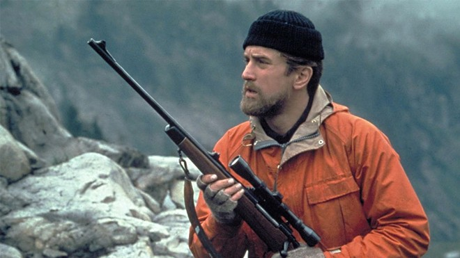 Robert De Niro in Deer Hunter on set in Washington state, near Mount Baker.