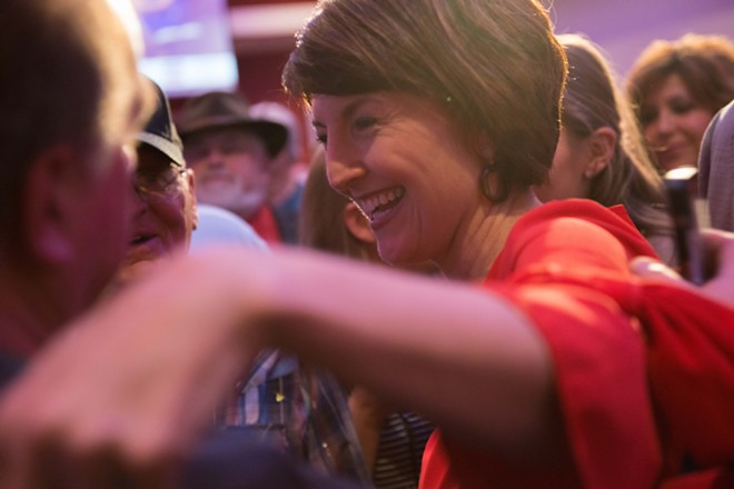 Rep. Cathy McMorris Rodgers was positively gleeful on Tuesday night. - DANIEL WALTERS PHOTO