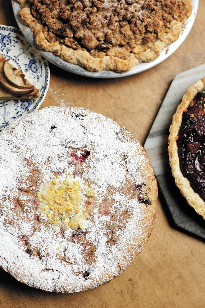 Clockwise, from bottom: Batch's cranberry crunch cake, a slice of old fashioned pear galette, a gluten-free apple walnut cheddar pie and roasted plum brown butter tart. - YOUNG KWAK