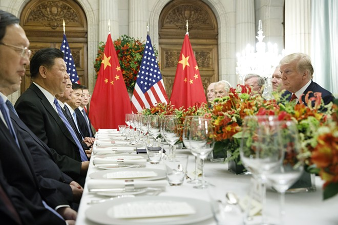 President Donald Trump at a bilateral dinner meeting with President Xi Jinping of China during the Group of 20 summit at the Hyatt Palace Hotel in Buenos Aires, Argentina, Dec. 1, 2018. Trump and Xi agreed to pause the trade war between the world's two largest economies for 90 days, but no concrete commitments were made. - TOM BRENNER/THE NEW YORK TIMES