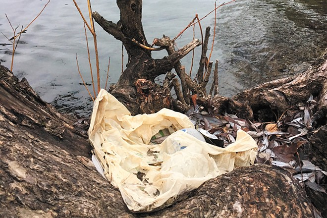 It's incredibly common to find plastic grocery bags like this one littering the shore of the Spokane River, says Riverkeeper Jerry White. - JERRY WHITE PHOTO