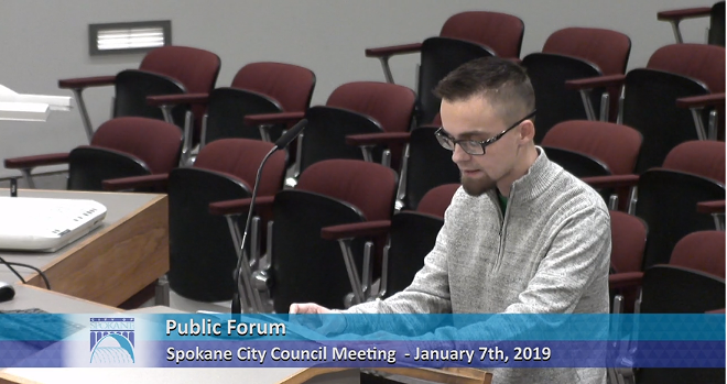 "Anti-abortion activist Jake Eakin calls for the city council to make Spokane a ""Sanctuary City"" for the unborn, by defying the Supreme Court to ban abortion within the city limits. - CITYCABLE5 SCREEN SHOT"