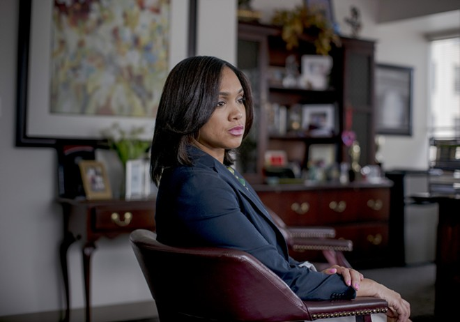 Marilyn Mosby, the state's attorney for Baltimore, at her office, July 14, 2017. Though marijuana is officially against the law in Maryland, Mosby will stop prosecuting marijuana possession cases within the city limits, regardless of quantity, and seek to vacate almost 5,000 convictions, she announced on Jan. 29, 2019. - GABRIELLA DEMCZUK/THE NEW YORK TIMES