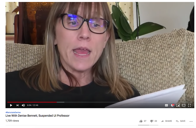 Denise Bennett reads aloud from a letter outlining the reasoning behind and terms for her paid administrative leave, in a Jan. 29, 2019 live video. - SCREENSHOT OF MLH FILMS LIVE YOUTUBE BROADCAST