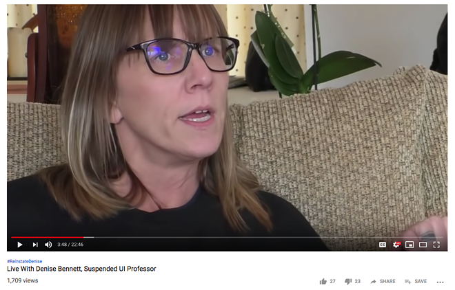 Denise Bennett reacts to a letter outlining the reasoning behind and terms for her paid administrative leave, in a Jan. 29, 2019 live video. - SCREENSHOT OF MLH FILMS LIVE YOUTUBE BROADCAST