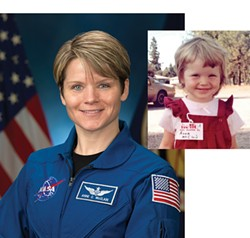 Anne McClain on her first day of preschool (right), when she announced she wanted to be an astronaut; and as a NASA astronaut. - COURTESY OF CHARLOTTE LAMP