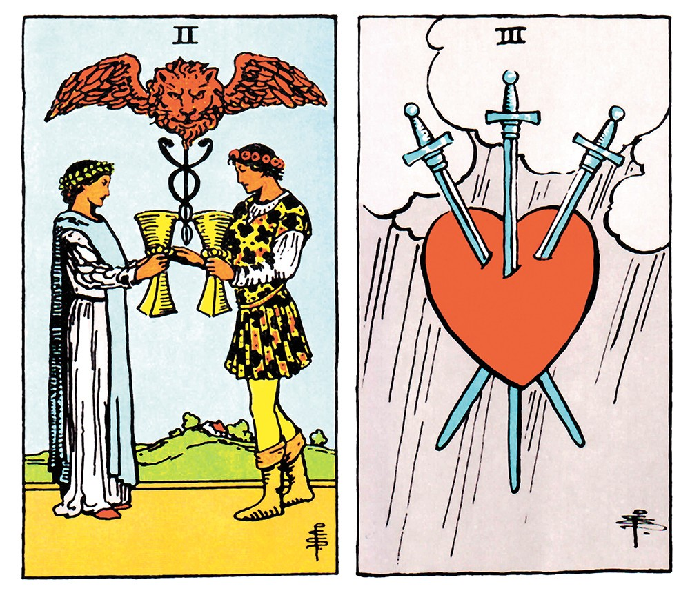 The Two of Cups and Three of Swords