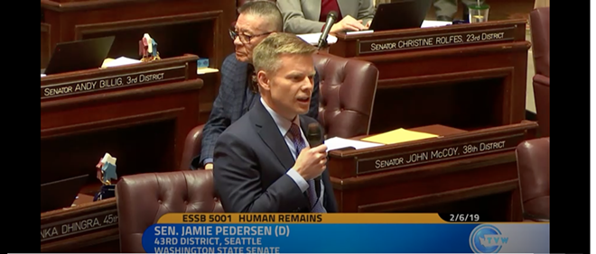 Sen. Jamie Pedersen discusses Senate Bill 5001, which would legalize two more after death options in Washington state. - SCREENSHOT OF TVW FOOTAGE