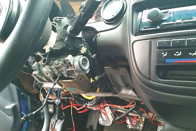 A thief ripped out the dashboard and punched out the ignition to steal an older Honda Civic. - PHOTO COURTESY KURT VIGESAA