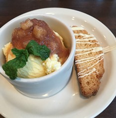 Wild Sage's goat cheese ice cream is a perfect balance of tart and sweet, topped with an apple compote with biscotti on the side. - SAMANTHA WOHLFEIL PHOTO