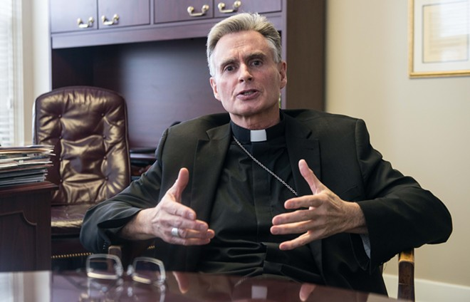 Spokane Bishop Thomas Daly in an interview last month at the offices of the Spokane Diocese. - DANIEL WALTERS PHOTO