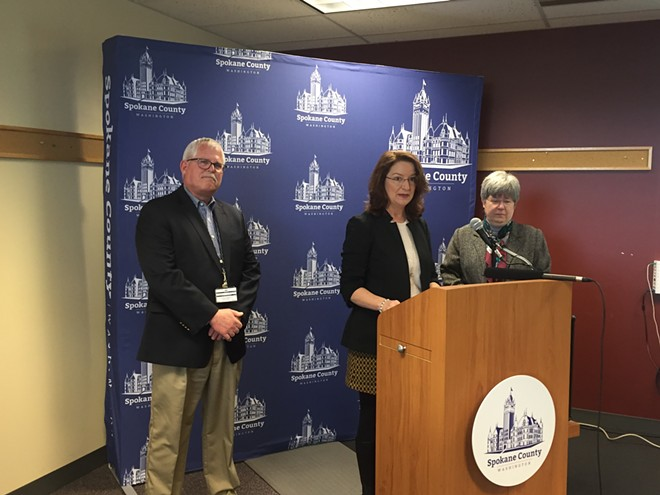 From left to right: Risk Management Director Steve Bartel, Commissioner Mary Kuney and County Auditor Vicky Dalton address the media at a March 28 press conference. - JOSH KELETY PHOTO