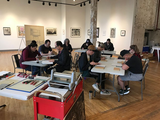 The first print workshop was held April 6 and taught by Reinaldo Gil Zambrano. - COURTESY OF TERRAIN