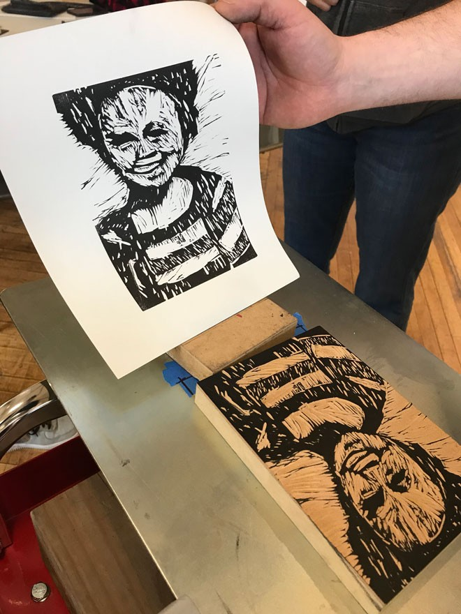 One student's work from the inaugural print fest workshop. - COURTESY OF TERRAIN
