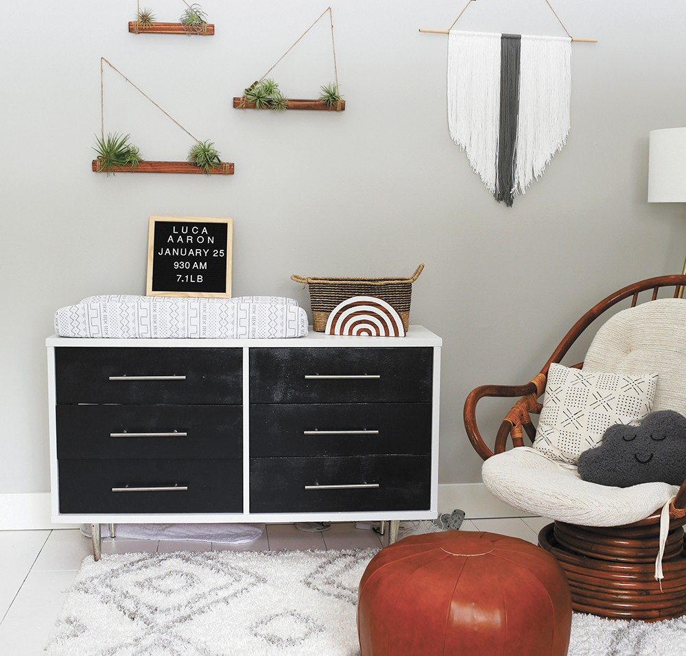 Danielle Loft transformed a secondhand dresser with new hardware and chalk paint, while air plant shelves in the nursery cost about $20. - DANIELLE LOFT PHOTO