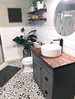 Rather than installing new tile, Danielle Loft painted the linoleum in her basement bathroom, part of a $400 makeover. - DANIELLE LOFT PHOTO