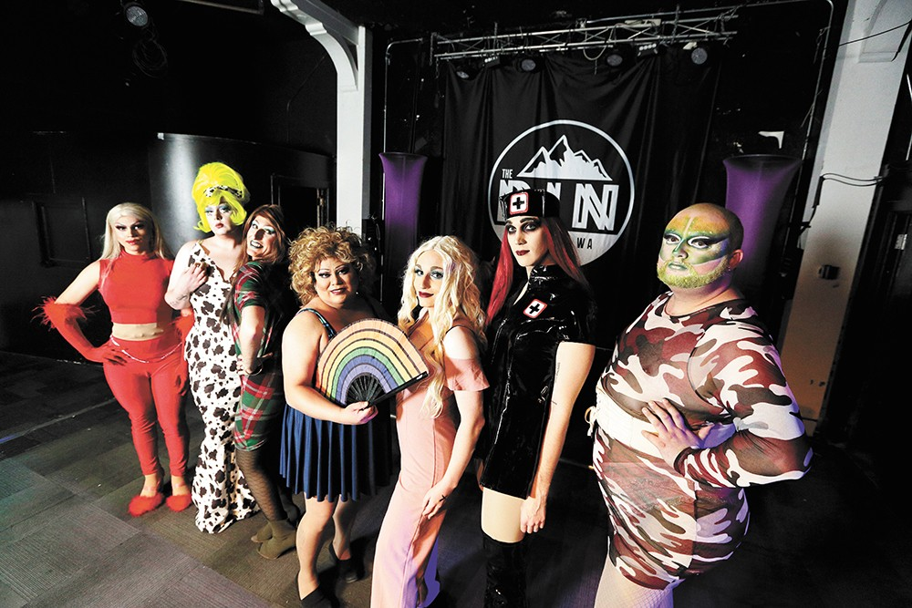 Local drag queens prepare for a variety showcase at the Pin. Left to right: Katrina Del Waters, Aurora, Katie Rockswell, Rita Fine, Sage Valentine, Nikita Romanoff and Luna Tik Hex. - YOUNG KWAK PHOTO