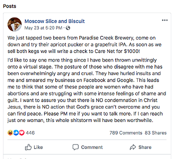 Screenshot of a post on Moscow Slice and Biscuit's Facebook page that has since been deleted, detailing more of what's happened since people were made aware of their stance on abortion.