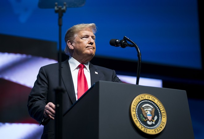 President Donald Trump speaks about the mass shooting at a synagogue in Pittsburgh, at the 91st Annual Future Farmers of America Convention in Indianapolis, Oct. 27, 2018. - SARAH SILBIGER/THE NEW YORK TIMES