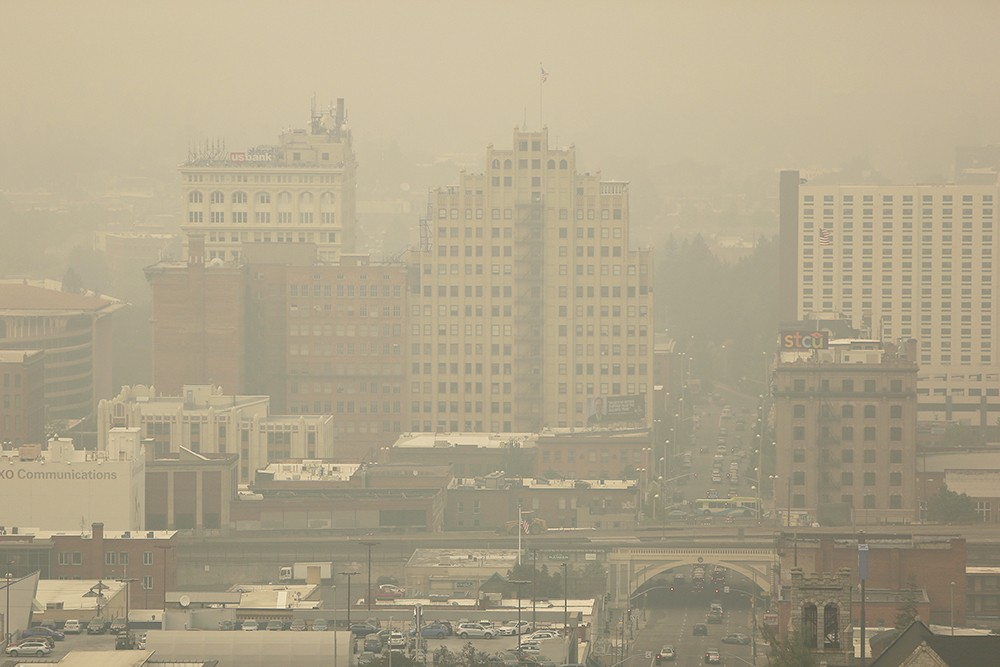 Downtown Spokane in the thick of smoke season. - YOUNG KWAK PHOTO